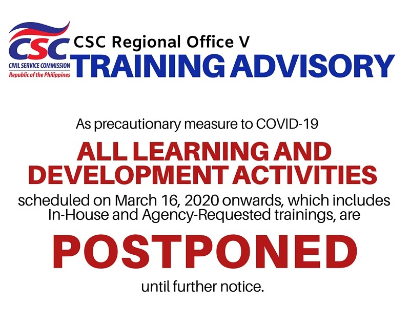 CSC RO V postpones learning & development activities as a precautionary measure against COVID-19